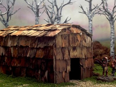 A longhouse model using real birch bark.