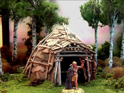 A wigwam constructed with real bark.
